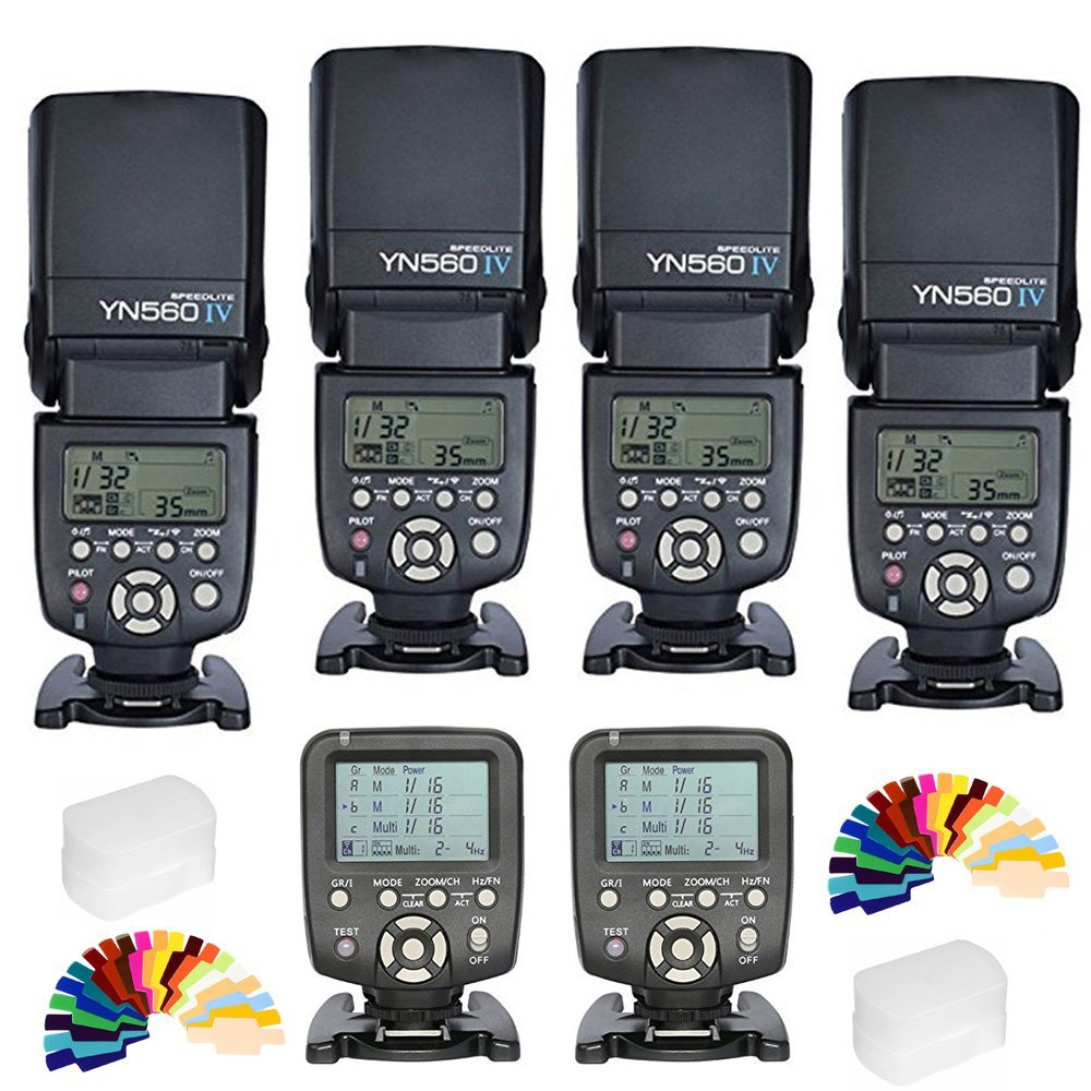 Yongnuo YN-560IV 4PCS Wireless Flash Speedlite kit + 2pcsYN560-TX LCD Flash Trigger Remote Controller +Color Filters For Nikon DLSR Cameras