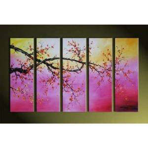 Ode-Rin Art Christmas Gift Christmas Hand Painted Oil Paintings Gift Flowers Blossom 5 Panels Wood Inside Framed Hanging Wall Decoration