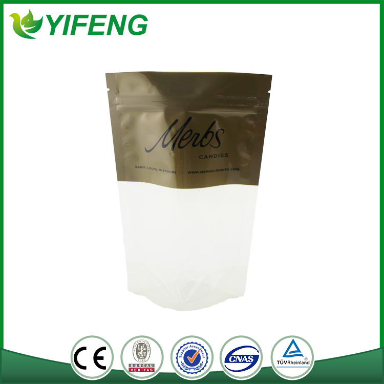 clear foil stand up pouch with zipper in different dimension