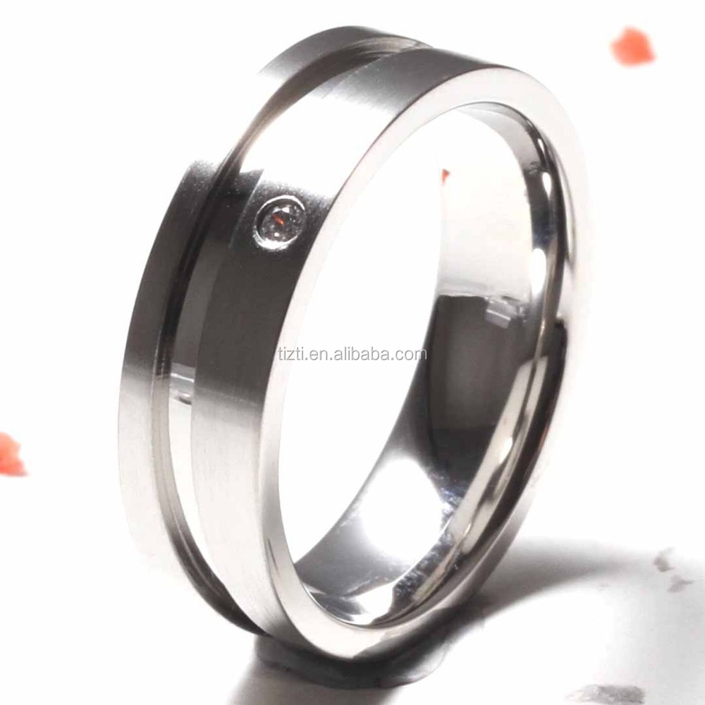 Men's Women's Matte Silver White Titanium Promise Ring Grooved Stainless steel ring with cz stone