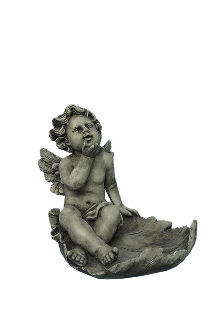 Hi-Line Gift Ltd Angel Sitting on a Leaf Multi-Purpose Birdfeeder Statue