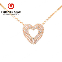 Guangzhou Jewelry Market 14K Light Gold Heart Diamond Pendant Necklace