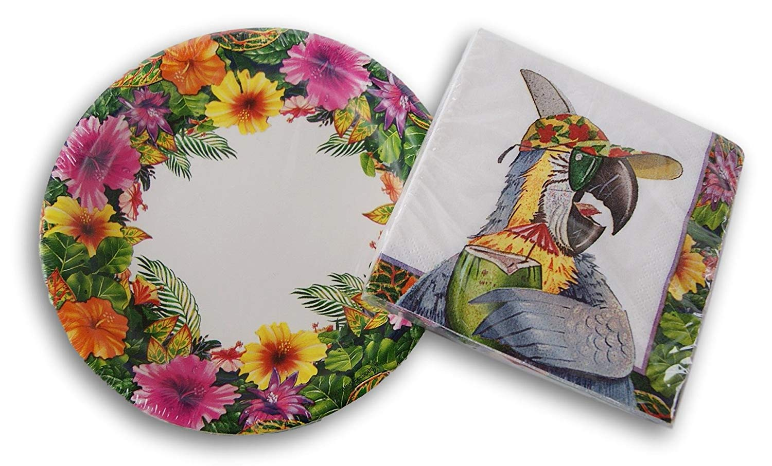 Beverage Napkins and Cake Plates Tropical Parrot Party Supply Kit