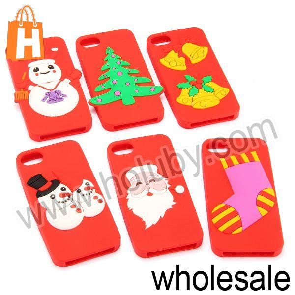 Father Christmas Tree/Bell/Snowman/Stocking Pattern Silicone Case for iPhone 5 5S