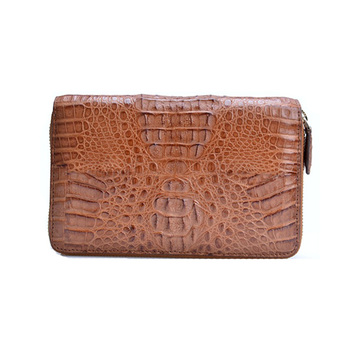 custom made luxury exotice leather crocodile skin men clutch wallet bag with zipper brown wholesale