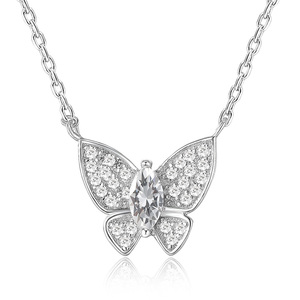 POLIVA Latest Design Animal Butterfly Pendant Cubic Zirconia 925 Sterling Silver Necklaces for Women