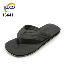 Cheap wholesale black simple mens flats thong leather flip flops for sale
