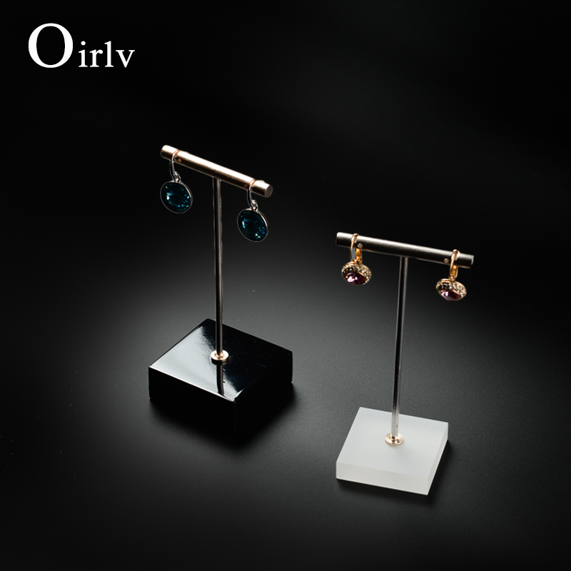 Oirlv China factory Custom Wooden jewelry holder with T Bar and lacquer base Jewellery exhibitor Metal Stand Earring Display