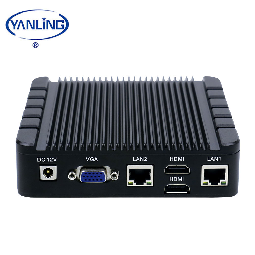 Factory Price mini pc Intel Apollo Lake celeron J3455 thin client 2 ethernet port fanless computers with SIM card slot