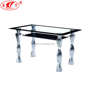 2018 Tempered Glass Top And Chrome Leg Two Layers Glass Dining Table