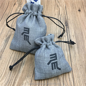 Cheap recyclable gray burlap jute jewelry bag with nylon drawstring