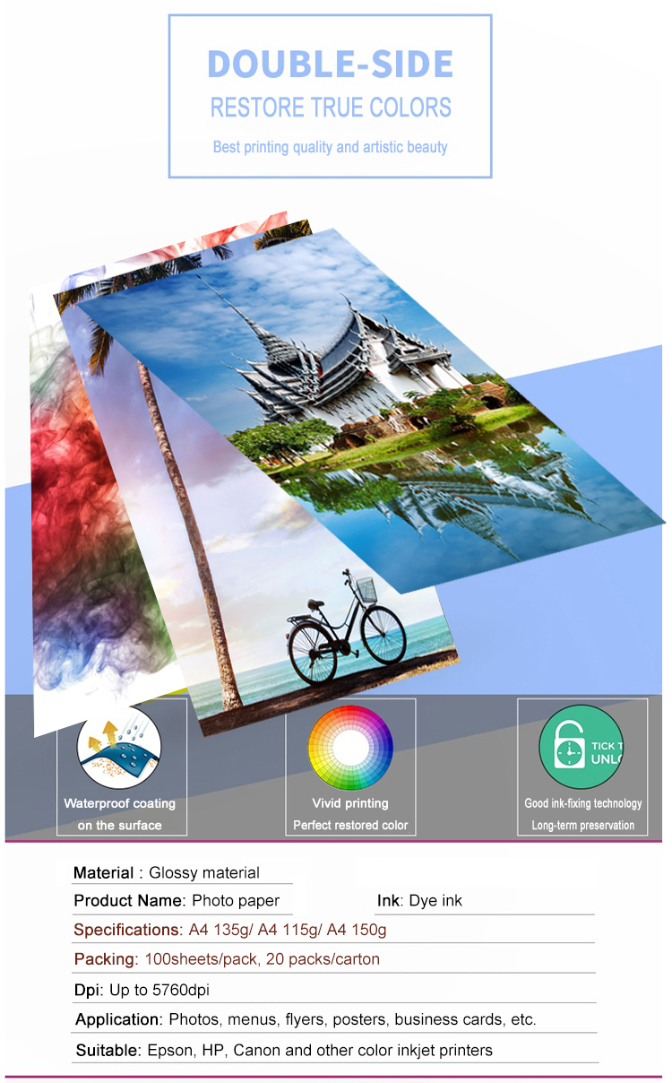 Guangzhou Yuhan Paper factory direct sale cast coated one side high glossy photo paper A4 sheet 150G for inkjet printing paper