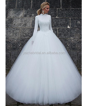da1d5bda915 Vintage Satin High Collar Ball Gown Muslim Wedding Dress Lace Appliques 2018  High Neck Long Sleeve