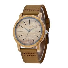 New Japan quartz movt wristwatch leather strap bamboo wooden watches for men women