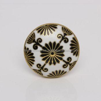 Retro Tunis Ceramic Door Knob In WhiteBlack And GoldElegant