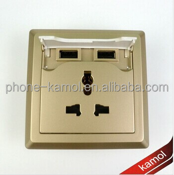 2-gang color safe socket type universal socket with two usb