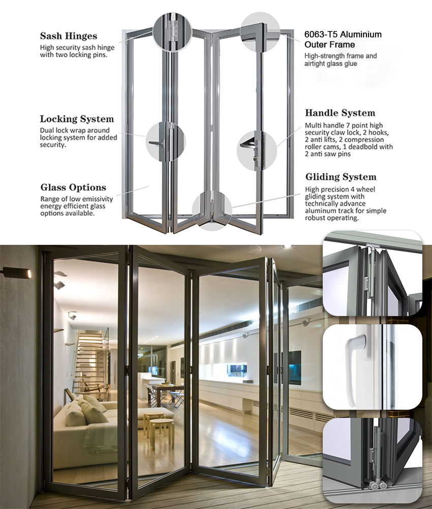Modern Design Exterior Balcony Flexible Track Aluminum Glass 3 Panel Sliding Bifold Patio Door
