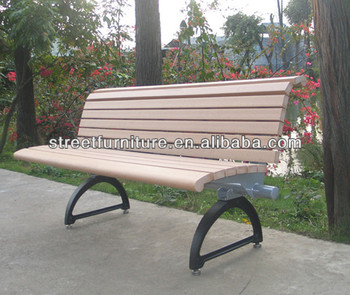 Wrought Iron Garden Bench Wood Plastic Composite Chair With Backrest