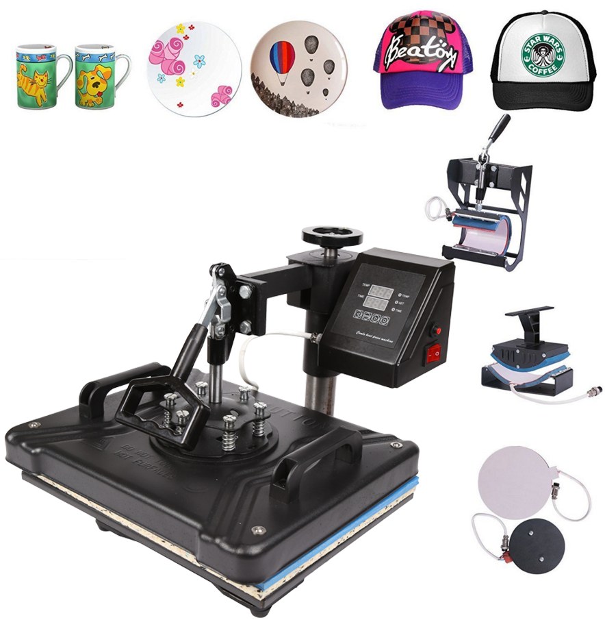 12x15 5 in1 Sublimation Manual Heat Transfer Press Machine Printing T-shirt Shoes Plate Cap Mug