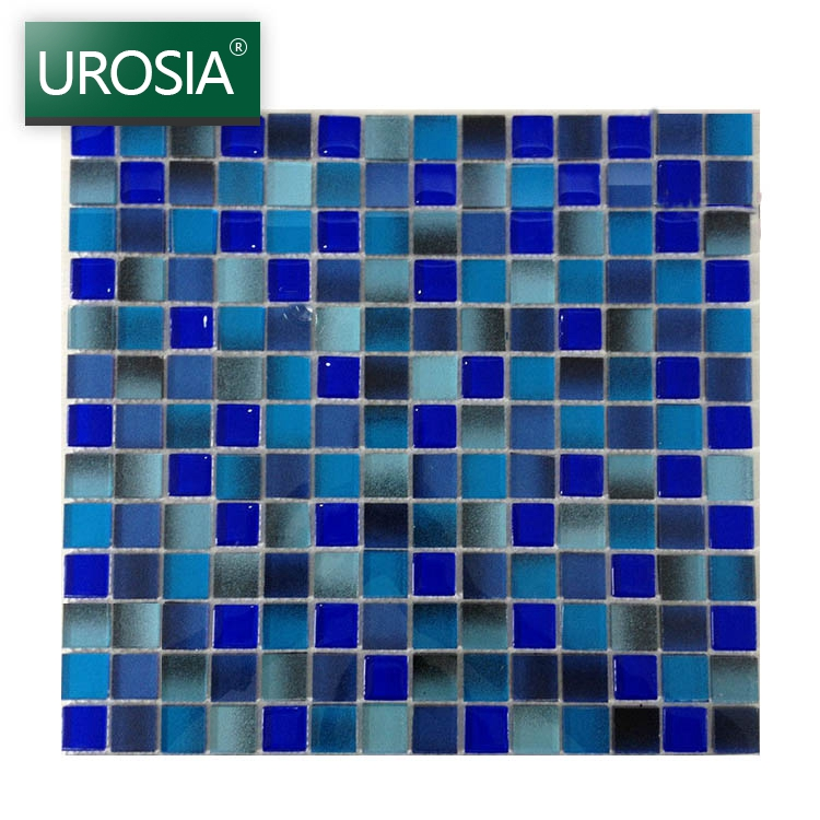 natural pattern glazed square ceramic mosaic tile price 4mm 6mm 8mm thickness blue Swimming Pool Crystal Glass Mosaic Tile