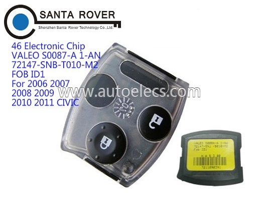 Remote Car <strong>Key</strong> For Honda Civic 2 Button Smart Remote Set (Euro) VALEO S0087-A 1-AN