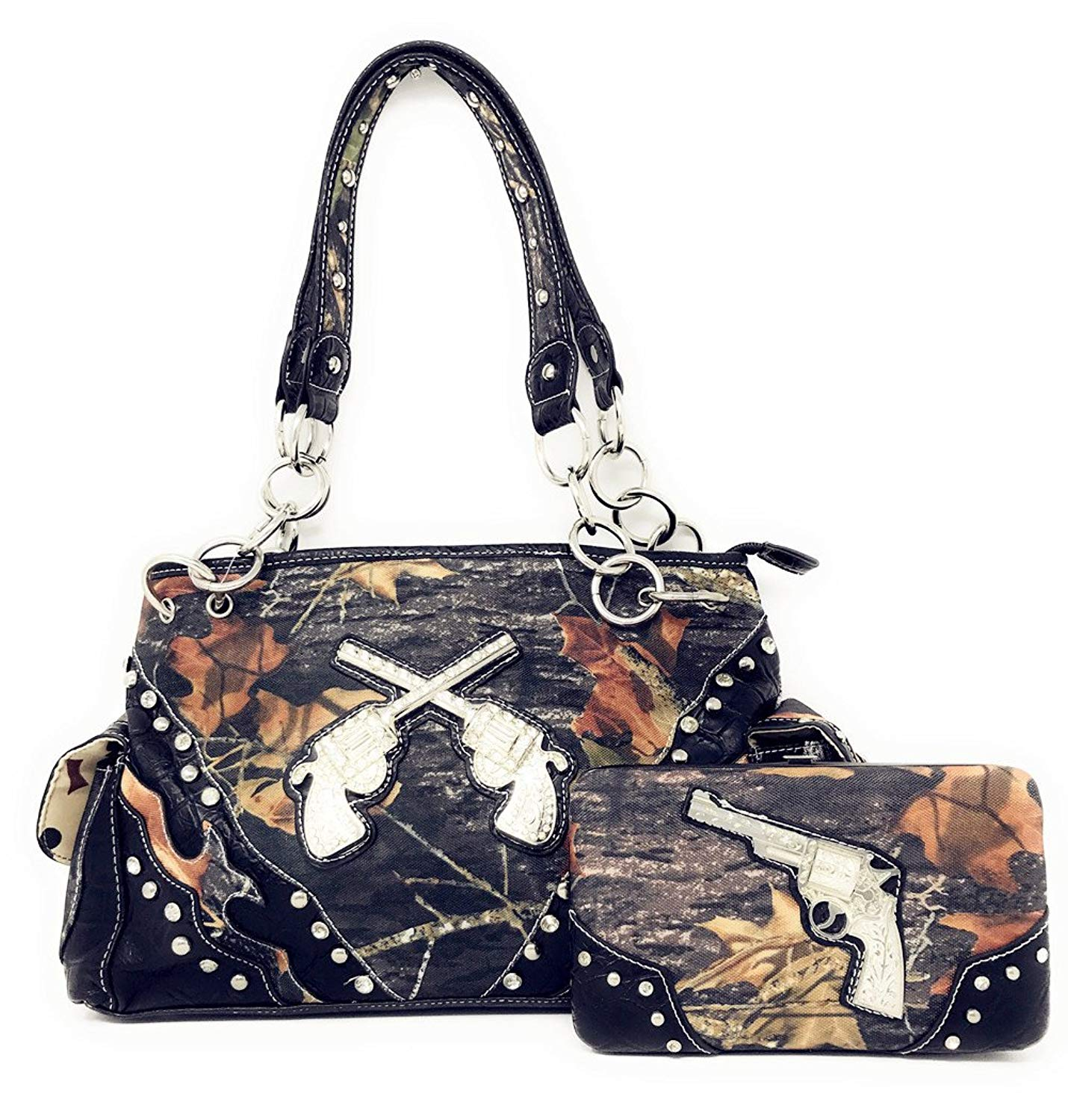 Get Quotations Camouflage Rhinestone Pistol Women S Handbag Purse And Matching Wallet A11 5117 In Black Brown