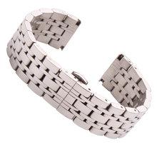 Ремешок для часов из нержавеющей стали, 18 мм, 20 мм, 22 мм, серебристый полированный роскошный сменный металлический ремешок для часов, Аксессу...(Китай)