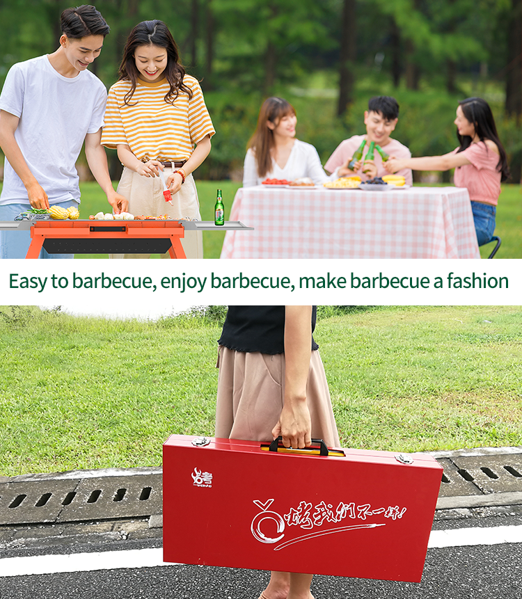 Foldable Grill BBQ Set with 2pcs rotary tray on top