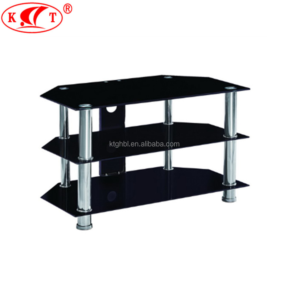 Black Tv Stand For Flat Panel Tv With Tempered Glass Shelves Buy