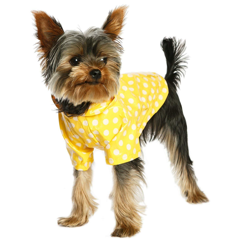 "UrbanPup Yellow Polka Dot PVC Waterproof Raincoat (Medium - Dog Body Length: 12"" / 30cm)"