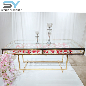 2019 hot sale stainless steel furniture glass top square wedding crystal cake dining table WCT003
