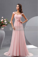 NNA1073 Cap Sleeve Pink Long Evening Dress Fashion 2012