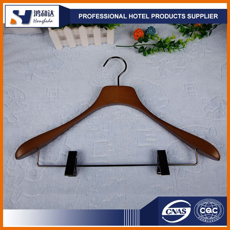 Factory direct sale wooden skirt hanger with clip for hotel bedroom