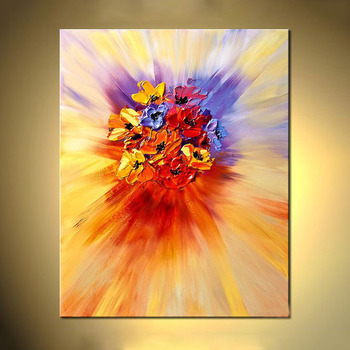 Texture Modern Abstract Flower Wall Art Acrylic Canvas Oil Painting For Hotel Decor