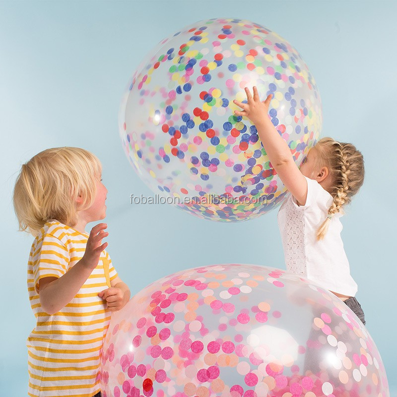 36 Inch Hot Sale Latex Transparent Confetti Balloons For Wedding Decoration Party Decoration