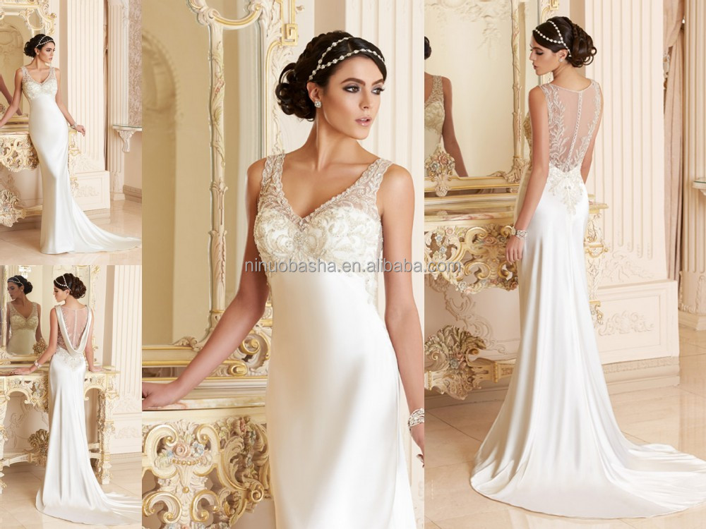 2015 sexy satin wedding dress v neck beaded high waist for Wedding dress with red ribbon on waist