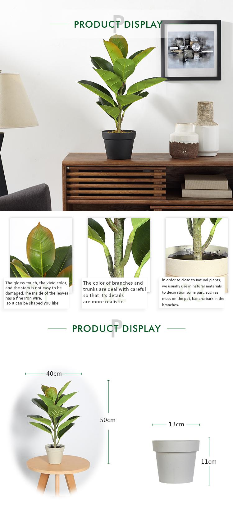 50cm Artificial Indian Rubber Tree Bonsai Cheap Artificial