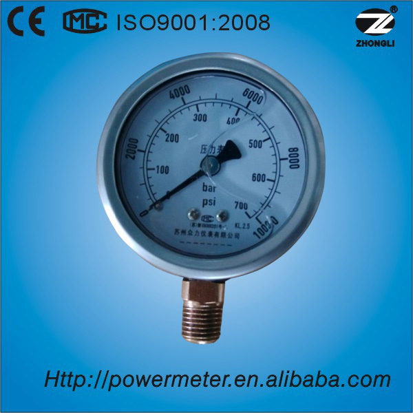 "2.5"" (60mm) bar and psi scale high pressure diesel fuel pressure gauge"