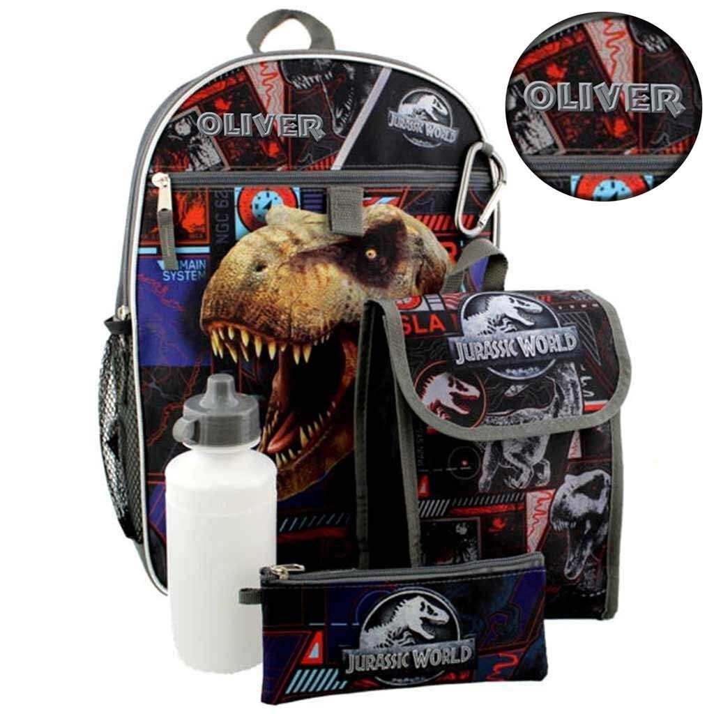 """Personalized 16"""" Jurassic World Backpack with Bonus Lunch Bag, Water Bottle, Pencil Case, and Carabiner Clip"""