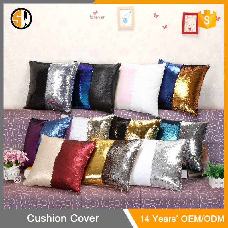 Competitive Price Most Popular Fancy 40cm*40cm Home Decor DIY Double Sided Sequins Sofa Bed Pillow Case Cushion Cover