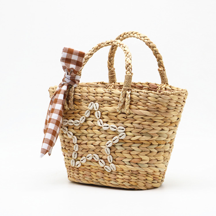 RKY0730 New summer style shell star gourd grass woven bag woven pp beach bag straw rattan tote bag-6