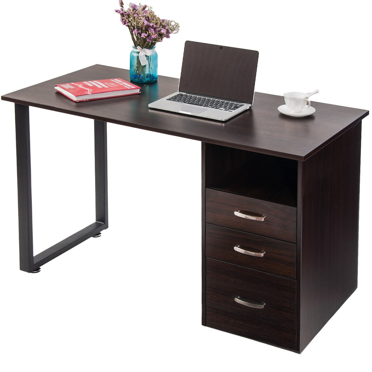 Merax Modern Simple Design Computer Desk Table Workstation with Cabinet and Drawers for Home & Office (Espresso)