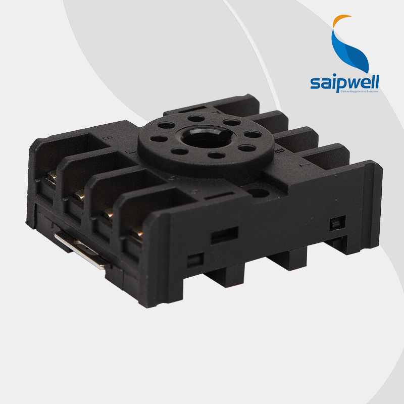 Saipwell High Quality 8 Pin Round Type Relay Socket Base PF083A (10F-2Z-C1) with CE Approval in 10-Pcs-Pack