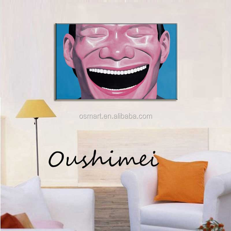 Big time smiling face great white teeth joy hope happy life 100% handmade oil painting in canvas