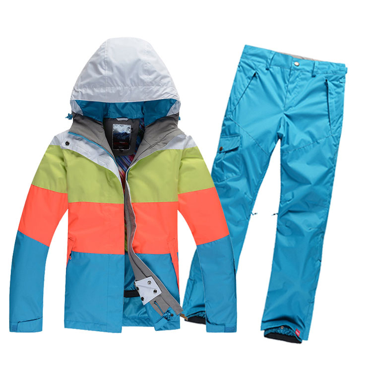 2015 High Quality Unisex Lovers Ski Suit Set 100%Polyester Colorful Match Ski Jacket+Pants Waterproof Windproof Warm breathable