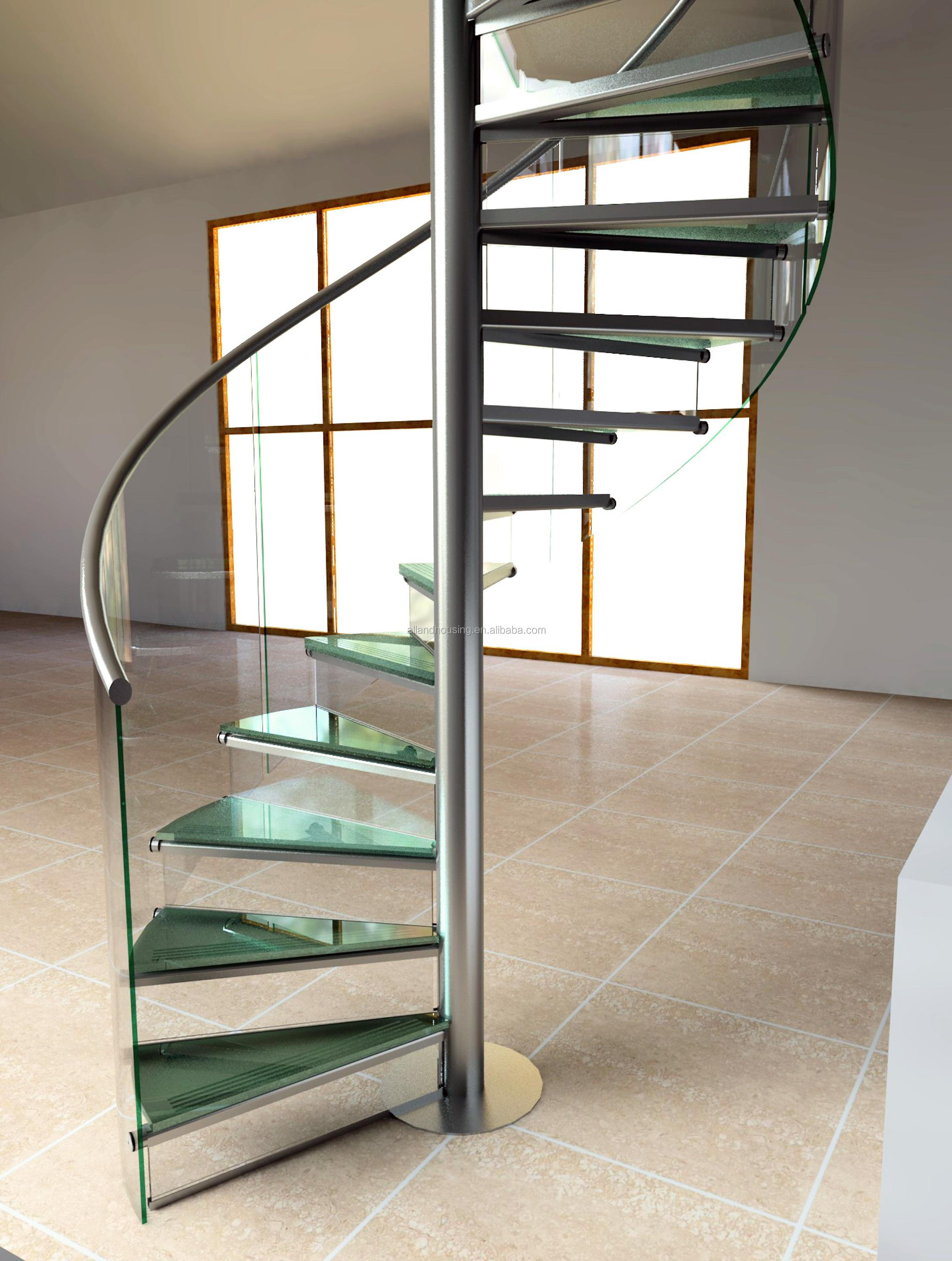 Contemporary Design Wrought Stainless Steel Spiral Staircase With Tempered  Glass