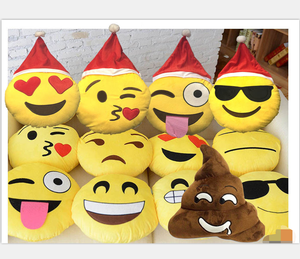 Good quality wholesale factory Christmas emoji pillow Emoji Expressions Santa Laugh Cry Plush Pillows with santa hat