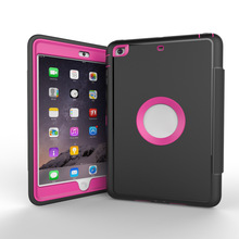2017 Hot Fashion Dual Color 3 in 1 Hard Shield Silicone Plastic Case For iPad Mini 1 2 3 Retina Hybrid Robot Armor