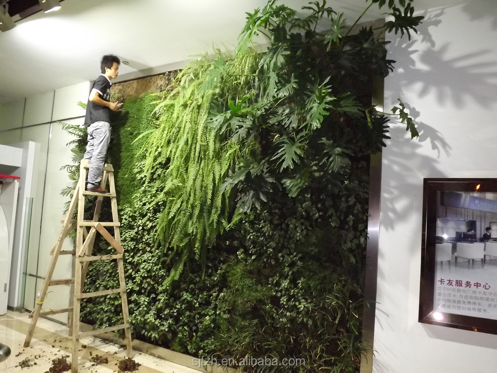 Big artificial grass wall at indoor hotel decoration fake for Artificial grass indoor decoration