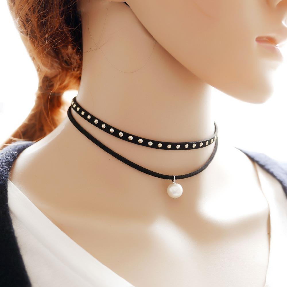 Women Velvet Leather Choker Rivet Pendant Fashion long Necklace Jewelry